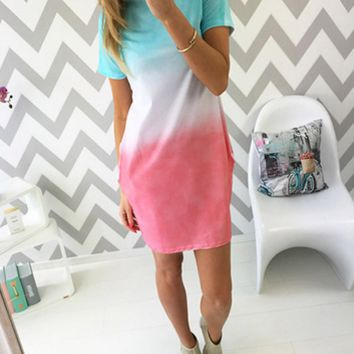 Slim Ombre Print Dress 11761