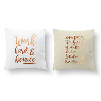 SET of 2 Pillows, Work Hard and Be Nice, Capitals Pillow, Throw Pillow, Bedroom Decor, Cushion Cover, Gold Decorative Pillow, Motivational