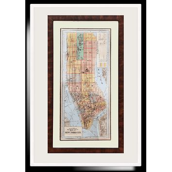 Hand Embellished Vintage Outline & Index New York City Framed Artwork