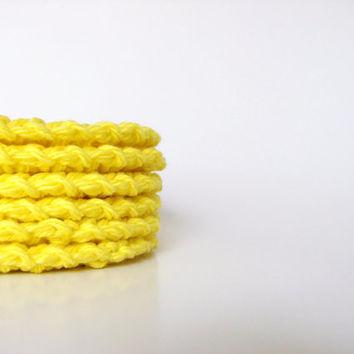 Organic Cotton Scrubbies, Sunshine Yellow, Bathroom, Home, Eco Friendly, Set of 6, MADE TO ORDER