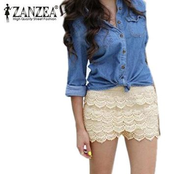 S M L XL XXL 2017 New Summer Fashion Womens Shorts Sweet Style Lace Crochet Elastic Waist Slim Short Pants