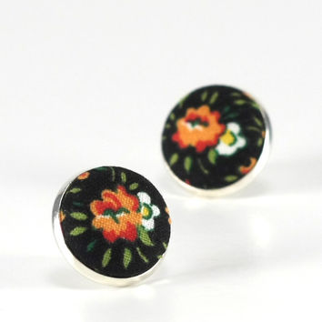 Flower Stud Earrings, Boho Roses, Black Floral Studs, Red Roses Romantic Fabric Buttons Jewelry, Antique Posts