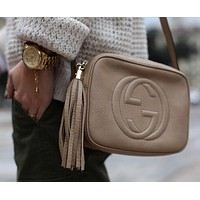 Gucci Fashion Ladies Small Bag Shopping Pure Color Tassel Leather Shoulder Bag Crossbody Satchel White I-MYJSY-BB
