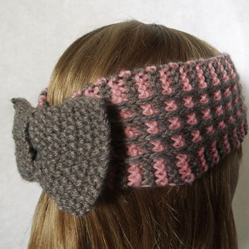 FREE SHIPPING,Knitted Women Headband in Salmon Pink and Brown Taupe,Winter Wool Turban,Warm Head Wrap,Bow Ear Warmer,Knit Women Accessory