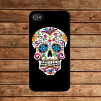 iphone 4 case,iphone 4s case,iphone 4 cover--Floral Skull,Sugar skull,colorful skull,in plastic or silicone case
