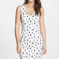 Women's French Connection 'Polka Spray' V-Neck Cotton Sheath Dress