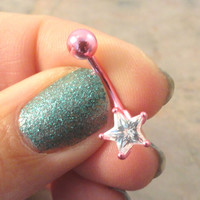 Bright Pink Belly Button Jewelry Ring with Crystal Star