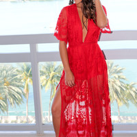 Red Lace Maxi Romper