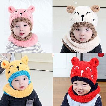Winter Warm Baby Hats Beanies Cap Cute Cartoon Cat Hats Sullies Infant Boys Girls Hat Scarf Set Kids Children Knitted Hats Cap
