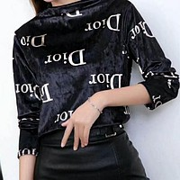 Dior Fendi Autumn Winter Trending Women Stylish Long Sleeve Pleuche Sweater Top
