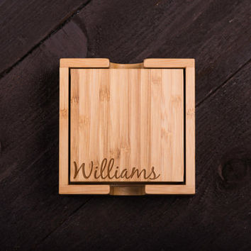 Personalized Coasters, Wooden, Cursive Last Name, Custom Bamboo Coaster Set, Wedding gift for Couple, Corporate Gift Kitchen Decor #5025