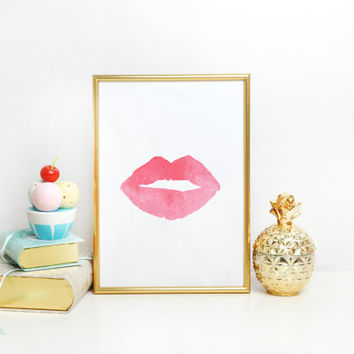 MAKEUP PRINT Pink Lips Watercolor Print Fashion Poster Abstract Lips Art Lipstick Chic Wall Art Kiss Print Fashion Illustration Make Up