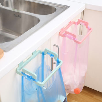 1pcs Hanging Trash Rubbish Bag Holder Papelera Garbage Rack Cupboard Cabinet Storage Rag Hanger Trash Can Bin 2017 New Arrival