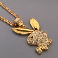 Gift Shiny Stylish New Arrival Jewelry Hot Sale Fashion Hip-hop Club Rabbit Necklace [6542770883]