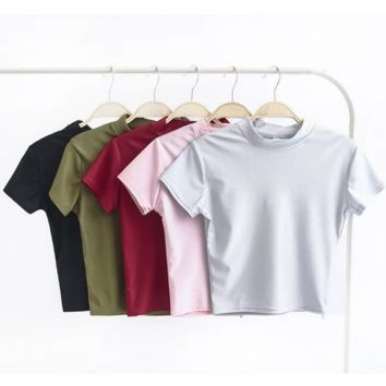 Shiny half a turtleneck brief paragraph cultivate one's morality short sleeve T-shirt(5 color)