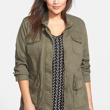 Plus Size Women's Lucky Brand 'Core' Cotton & Linen Blend Military Jacket