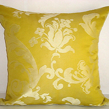 Silver floral – Yellow green decorative throw pillow – Square 20x20 inches accent pillow – Silk taffeta with relief flower print cushion