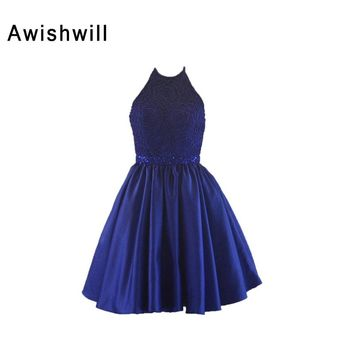 Newest Halter Party Dress Royal Blue Handmade Beadings Satin Backless Short Evening Prom Dresses Sexy Evening Gowns 2018