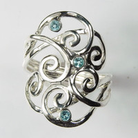 Blue Topaz Ring - Swirl Ring - Gemstone Wave Ring - Sterling Silver - Artisan Unique Swirl Jewelry - Silver Spiral Jewelry - Birthstone Ring