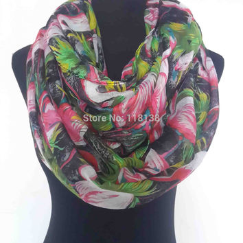 Newest! Oversize Flamingo Bird Print Infinity Scarf Shawl Wrap Women's Accessories, Free Shipping