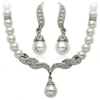 Women's Faux Pearls Statement Bridal Bridesmaid Necklace Earring Set (Silver)