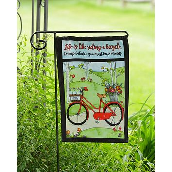 Life is Like Riding a Bicycle Garden Flag
