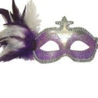 Purple and Silver Venetian Masquerade Mask with Purple and White Plumes and Flower