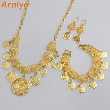Anniyo New Arab Coin Jewelry sets Gold Color Necklace & 20cm Bracelet Earrings Africa sets/Middle Eastern Coin Ornament #066006