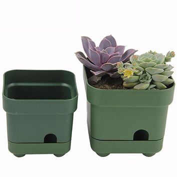 2Pcs Thickened Square Plastic Flower Planter Plant Pot for Home Office Desk Garden Decoration