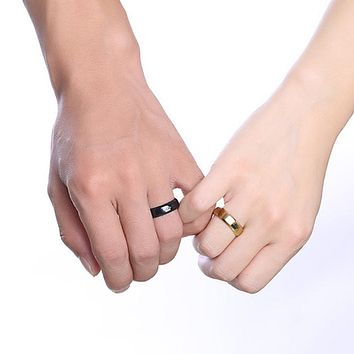 His Queen and Her King Crown Rings in Black and Gold