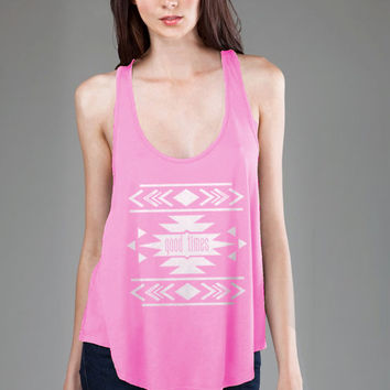 Tribal Print Good Times Flowy Tank Top