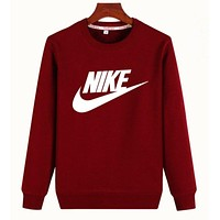 """Nike"" Unisex Lover Simple Casual Letter Print Round Neck Long Sleeve Cotton Tops"