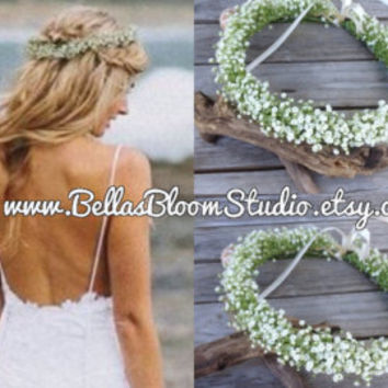 Baby Breath Flower Halo Fresh Baby Breath Crown flower crown baby breath Bridal hairpiece communion headpiece Beach headpiece etsy - Edit Listing - Etsy