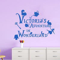 Alice In Wonderland Wall Decals For Girls Name Decal Kids Nursery Alice Adventure Custom Personalized Stickers Home Bedroom Decor  T12