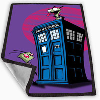 doctor who invader zim Blanket for Kids Blanket, Fleece Blanket Cute and Awesome Blanket for your bedding, Blanket fleece *
