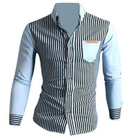 Jeansian Men's Slim Fit Long Sleeves Casual Shirts Tops Tops 8667