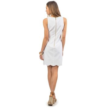 Charleston Wavy Scallop Dress in Classic White by Southern Tide - FINAL SALE
