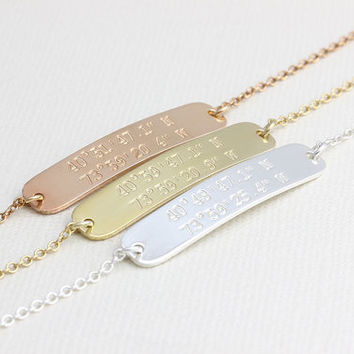 Dainty Personalized Bracelet, Coordinate Jewelry, Latitude Longitude Bracelet, Bridesmaid Gift