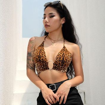 Leopard Printed Sexy Halter Crop Top Women Camis Backless Bandage Lace Up Sequins Metal Ring Tank Top Party Club Bustier