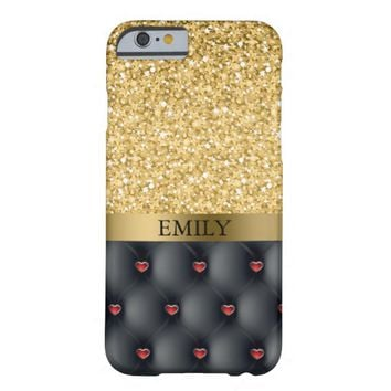 Gold Glitter And Red Hearts Barely There iPhone 6 Case