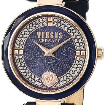 Versus by Versace Women's 'COVENT GARDEN CRYSTAL' Quartz Stainless Steel and Leather Casual Watch, Color:Blue (Model: VSPCD2817)