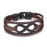 Rope leather Infinity Bracelets vintage men Jewelry bohemian charm