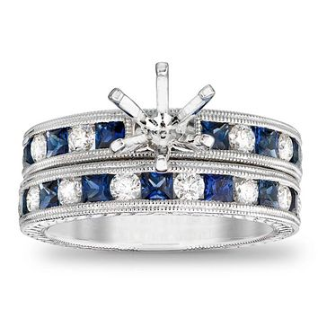 Princess-Cut Blue Sapphire and 1/2 CT. T.W. Diamond Semi-Mount Bridal Engagement Ring Set in 14K White Gold