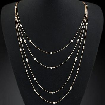 Bluelans Hot Women's Elegant Multi Layers Long Chain Beads Charm Necklace Fashion Jewelry