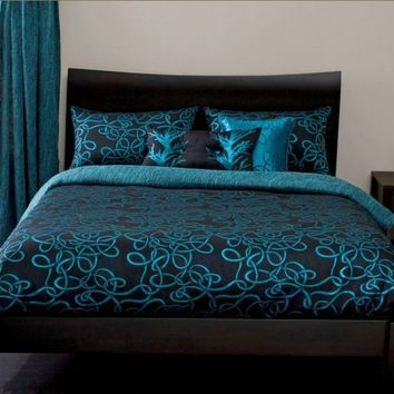 Michael Payne Twisty Vine Turquoise Bedding by Michael Payne; Comforters, Comforter Sets, Bed In A Bag, Bedspreads, Quilts & Duvets: The Home Decorating Company