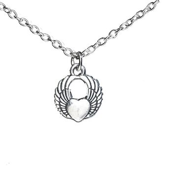 Angel Wing Heart Love Pendant Necklace
