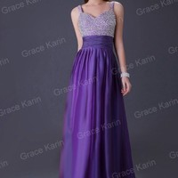 Beaded Long Summer Party Evening Bridesmaid Cocktail Dress Gown Formal Prom Ball