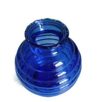 Blue Glass Vase Sodalite Blue Vase Cobalt Blue by TheRetroStudio