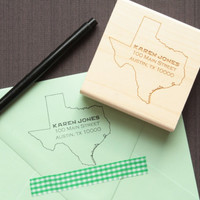 Texas State Address Stamp - Personalized Address Stamps - State Border
