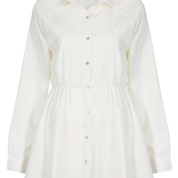 White Shirt Dress with Pleat Details